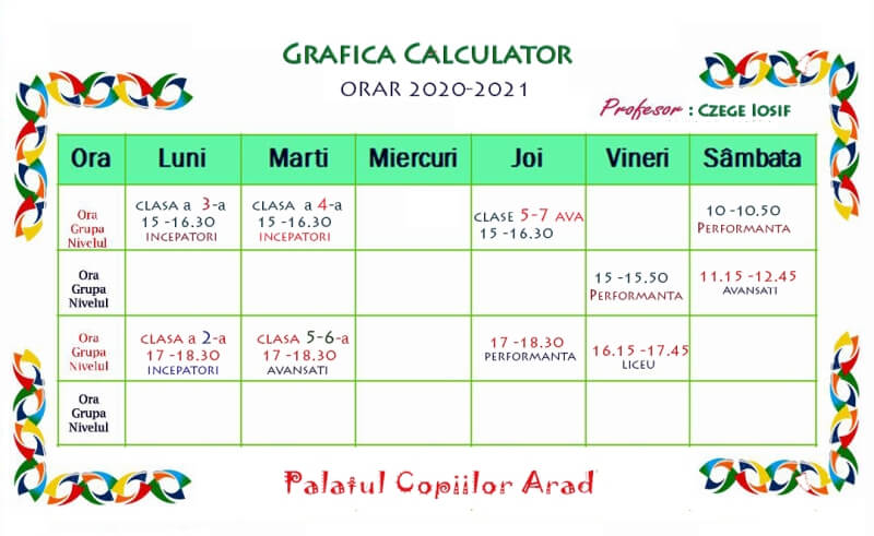 ORAR Grafica Calculator 2020 2021